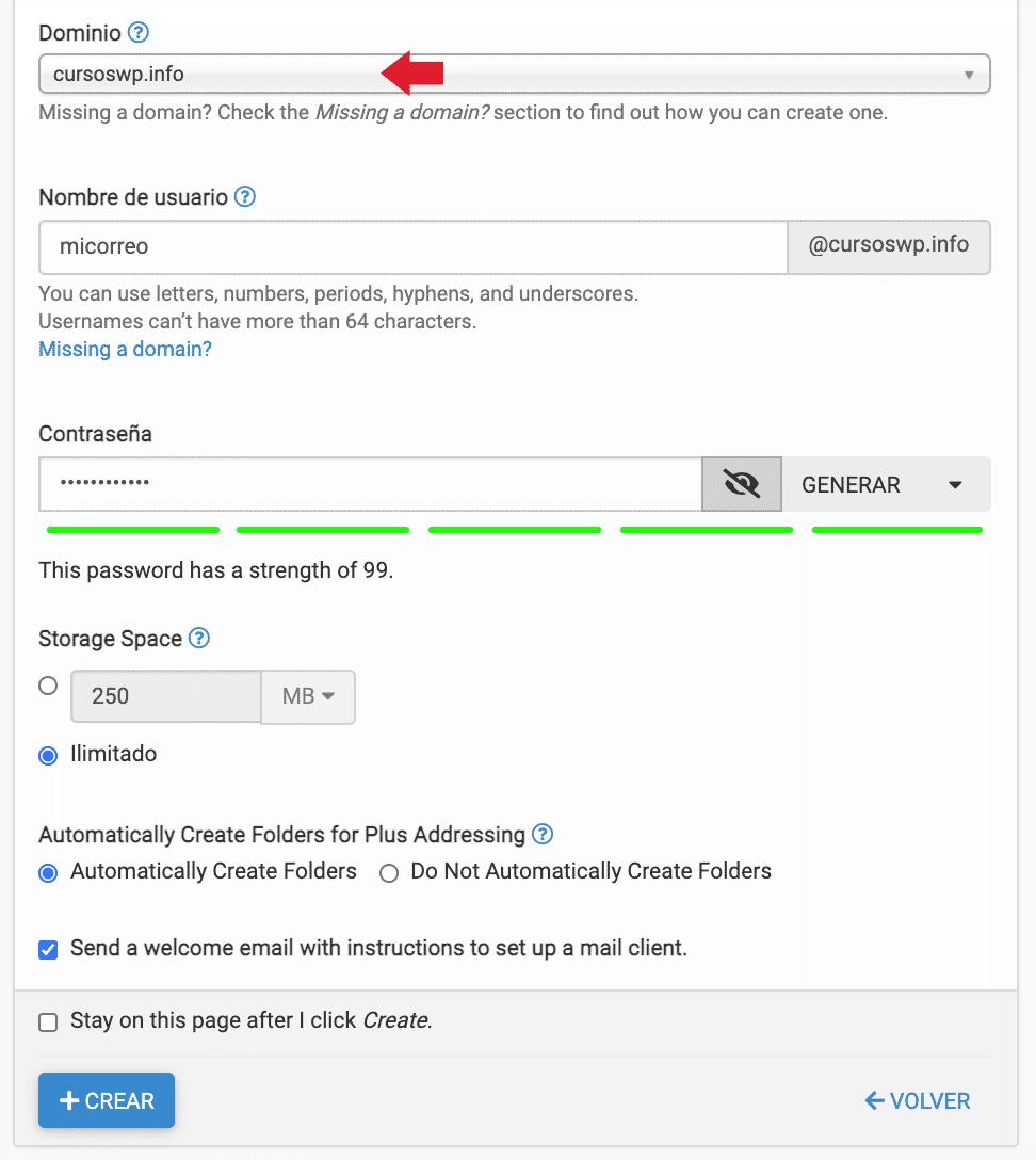 crear correo cpanel