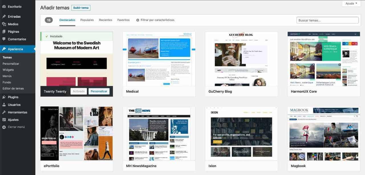 explorar temas WordPress