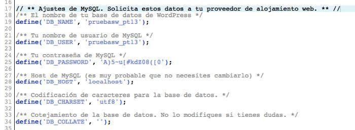 Datos base de datos en WordPress