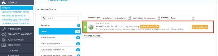 Actualizar PrestaShop 1.6.1.1