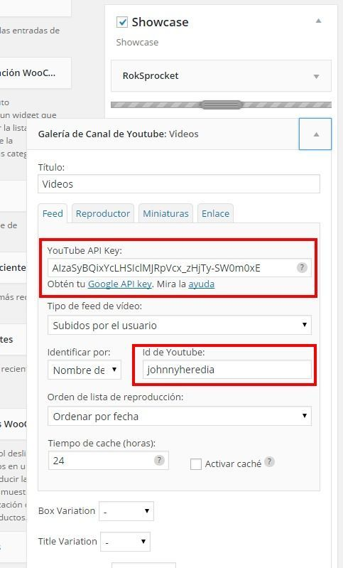 Widget Youtube