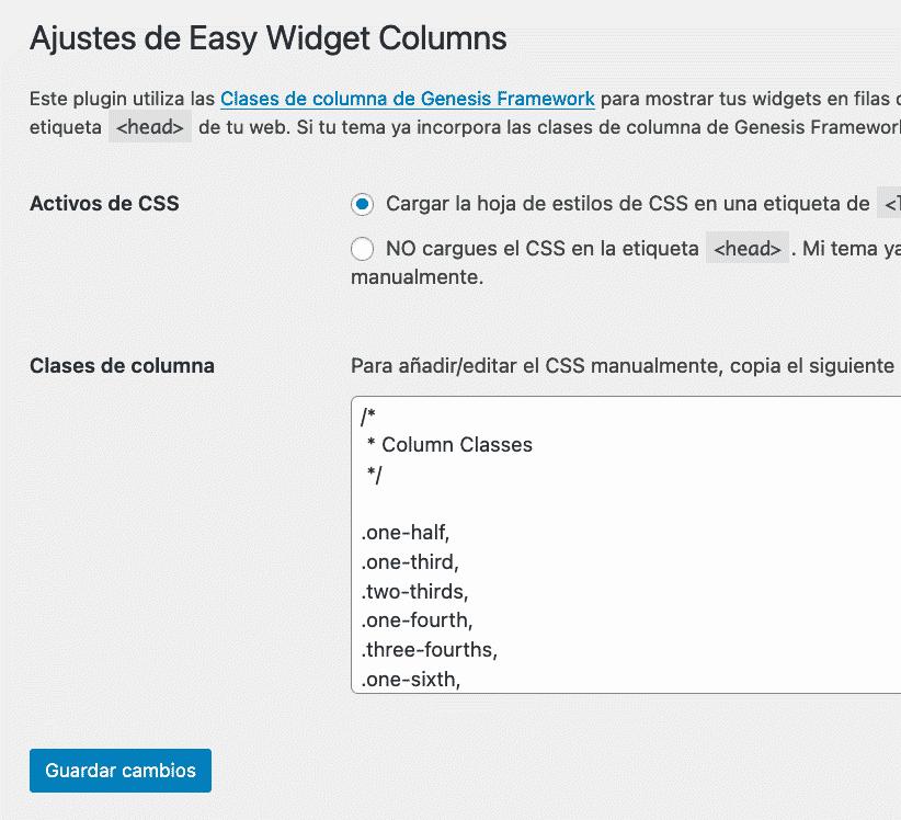 Ajustes plugin Widgets en Columnas