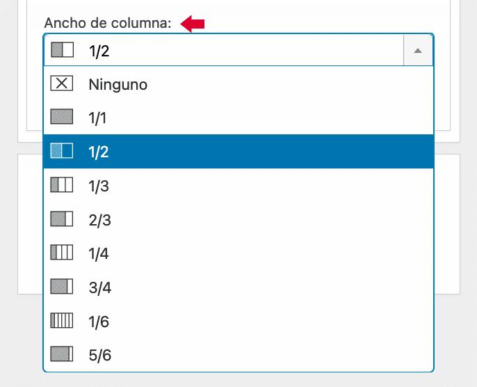 Widgets en Columnas ancho fila