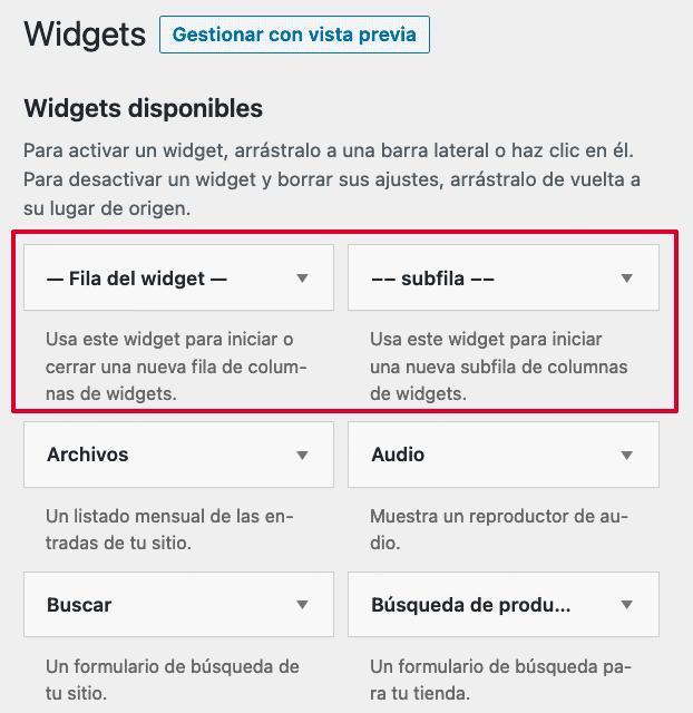 Nuevos widgets plugin Widgets en Columnas