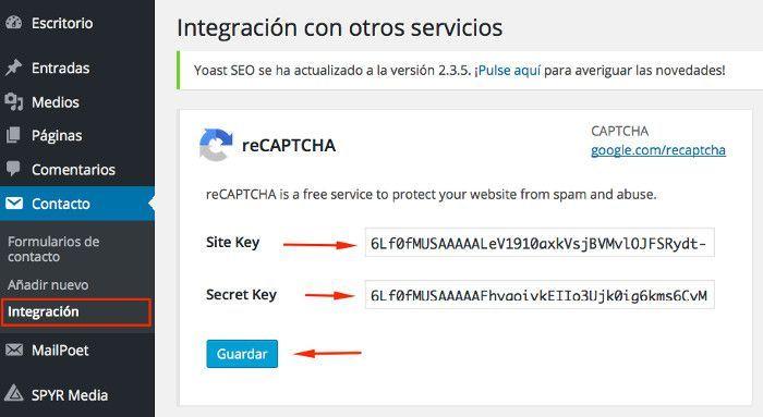 Contact Form 7 en WordPress