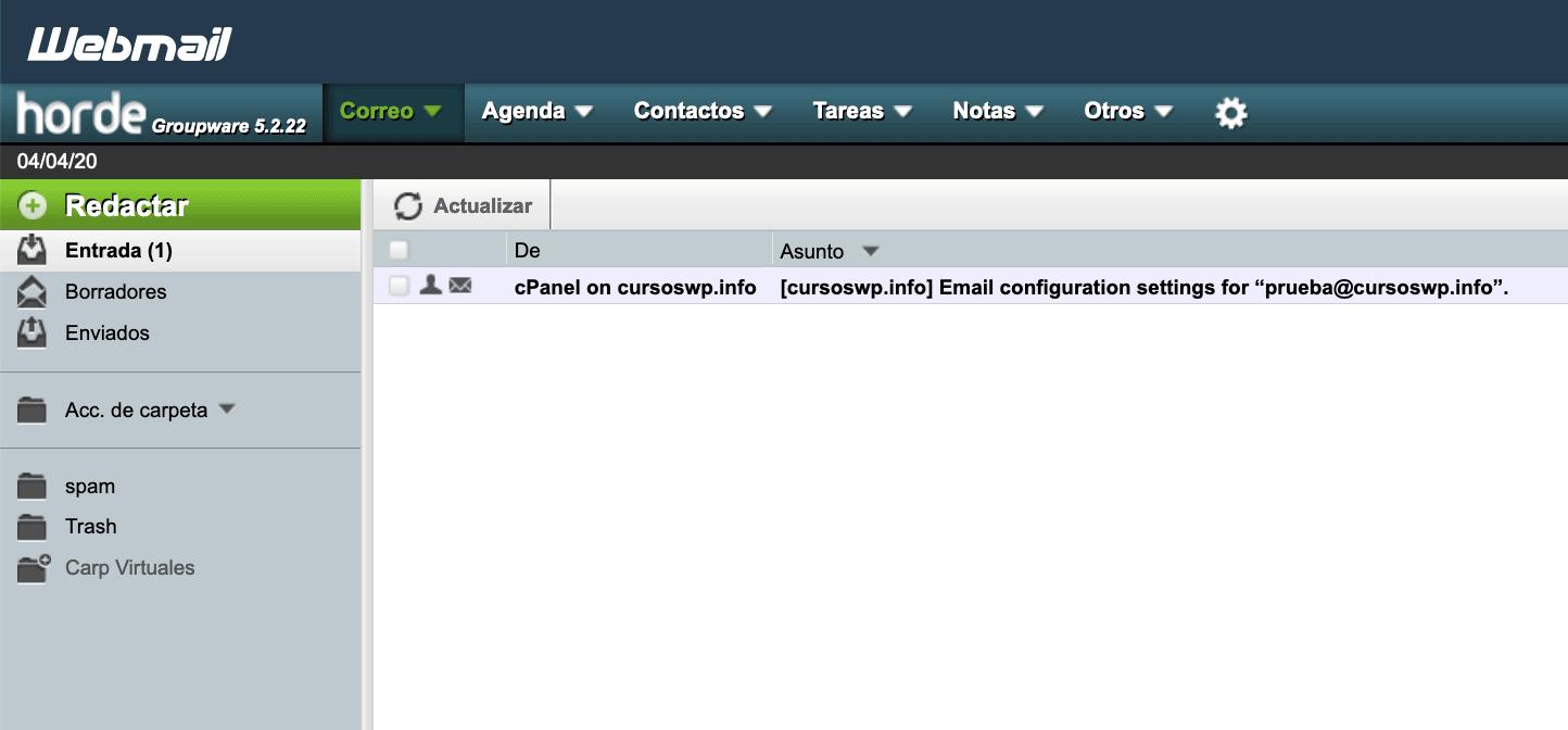 Aplicación horde en Webmail