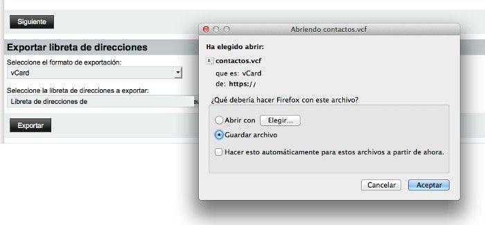 Aceptar la descarga del archivo .vcf