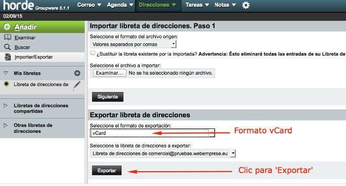 Exportar a formato vCard