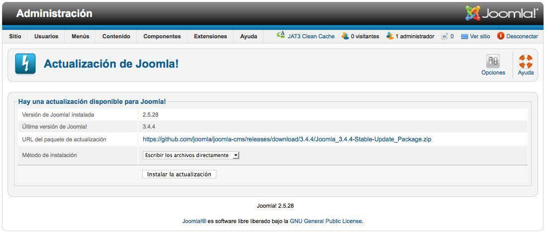 Pantalla antes de actualizar desde Joomla 2.5.28