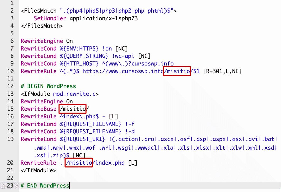 modificación archivo .htaccess