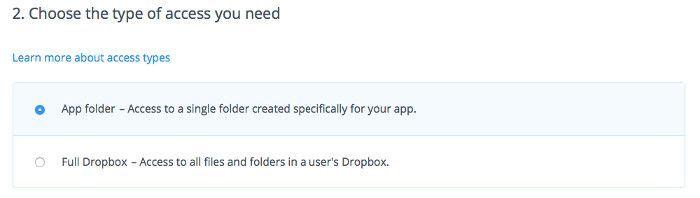 acceso a una carpeta específica de DropBox