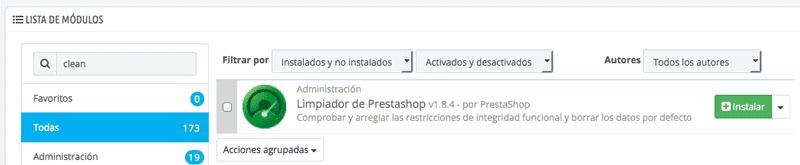 Instalación del módulo para eliminar datos de PrestaShop