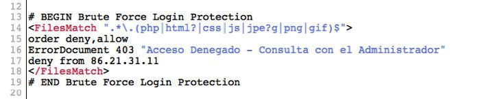 Lista de denegación de IPs en htaccess