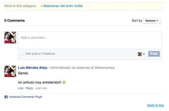 Caja de comentarios de Facebook en K2