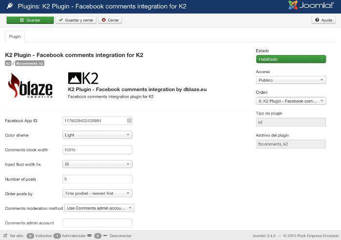 Configuración del plugin
