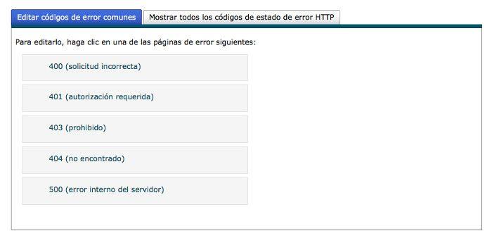 Editar códigos de error comunes
