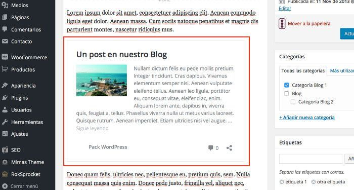 post embebidos WordPress
