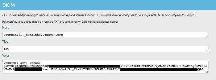 Datos registro DKIM