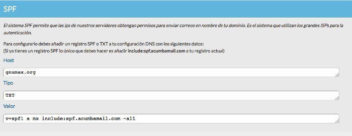 Datos registro SPF