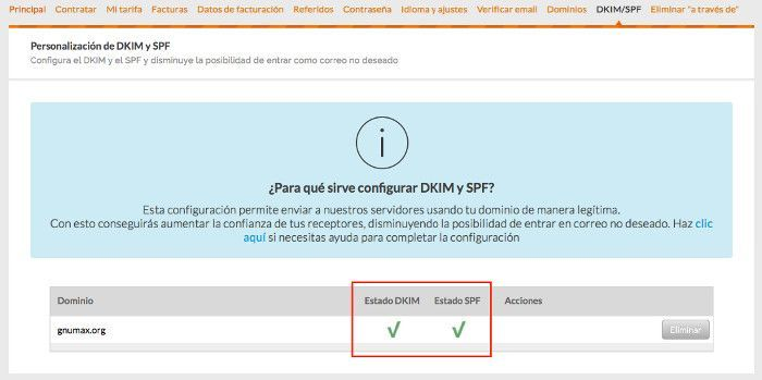 Estado de DKIM y SPF en Acumbamail