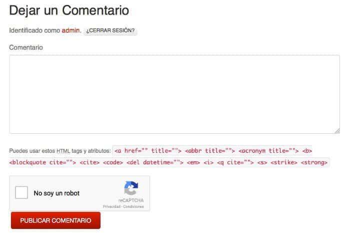 Caja No CATPCHA reCAPTCHA en formulario de comentarios