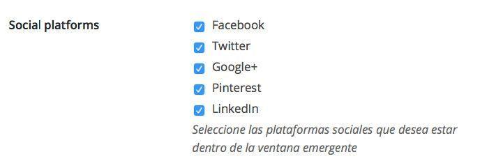 Configuraciones de redes sociales