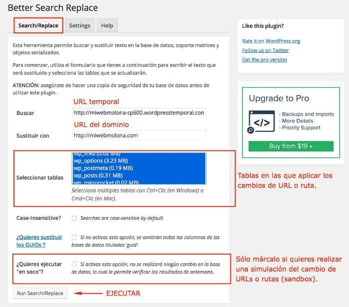 Ajustes de la pestaña Search/Replace