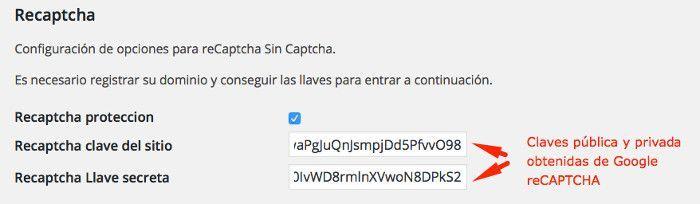 Configuración de reCAPTCHA
