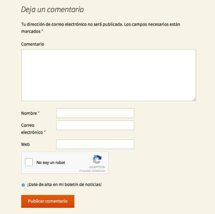 reCAPTCHA en el formulario de comentarios