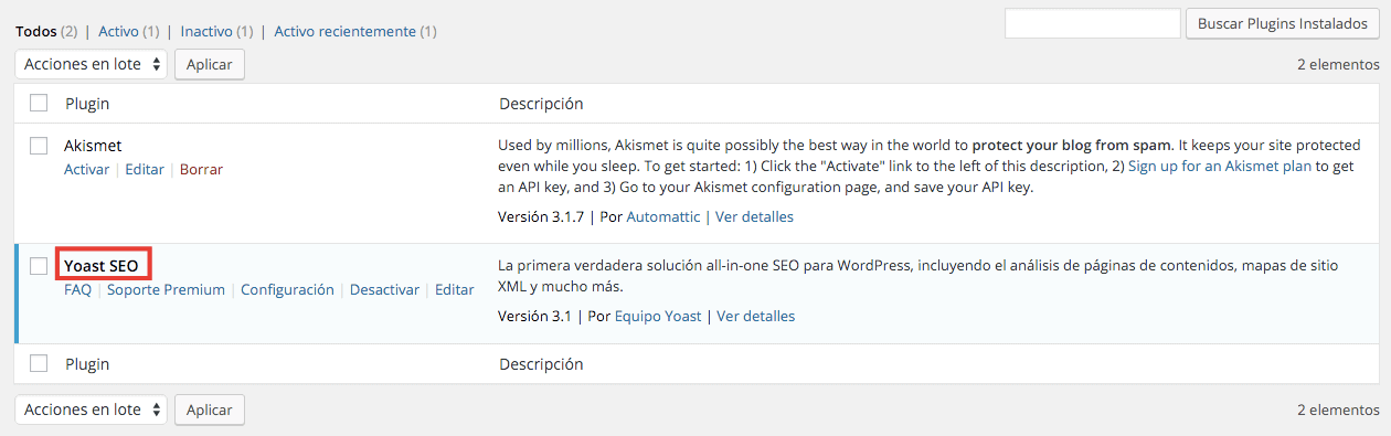 Plugin WordPress Instalado