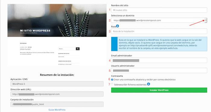Crear un blog con WordPress: configurar datos de la instalación