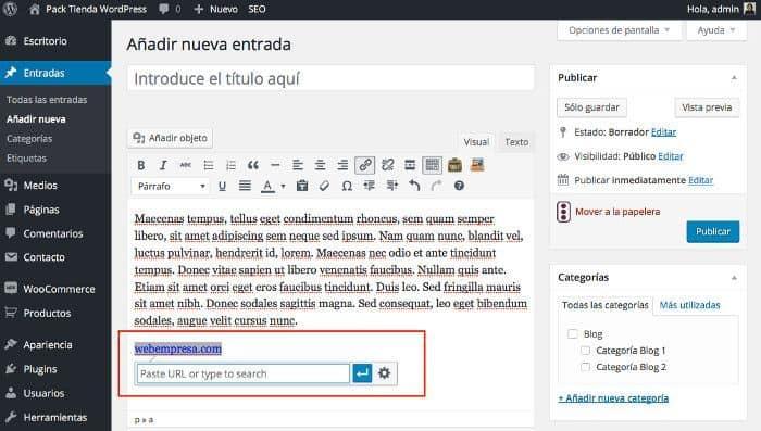 Links rápidos desde el Editor Visual