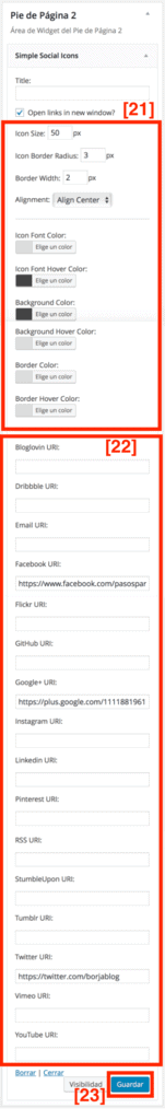 Añadir botones sociales al blog