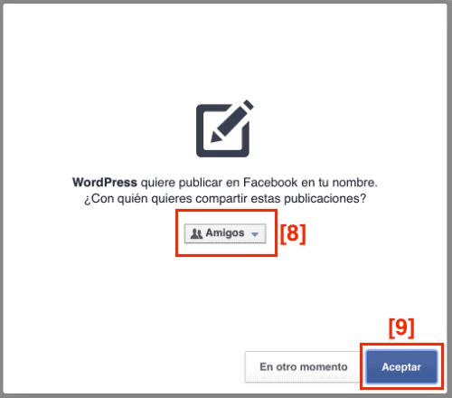 Autorizar a WordPress para conectar con Facebook