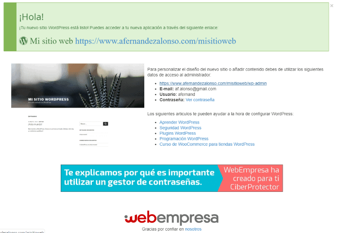 Wordpress instalado en CPanel
