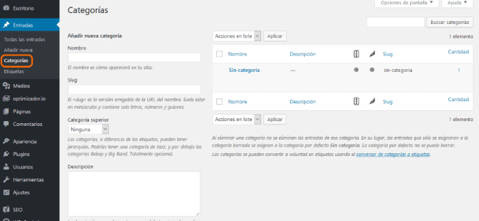 crear categorias wordpress