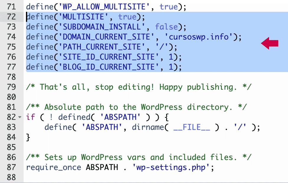 código activación de la red wp-config.php