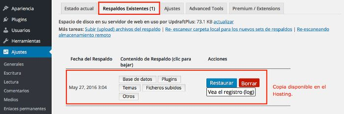 Copias de Seguridad de WordPress