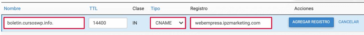dominio personalizado dns