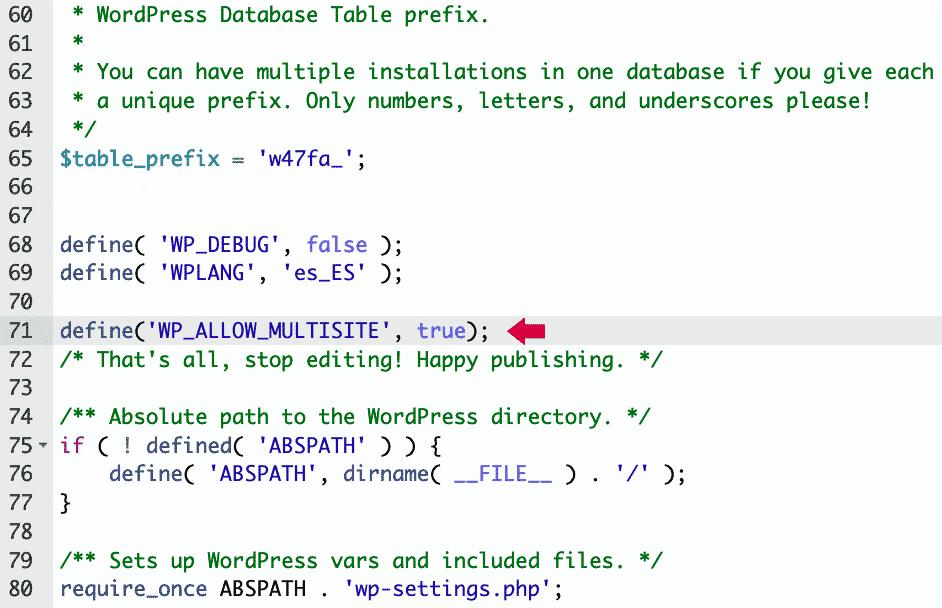 edición de archivo wp-config.php resultado final