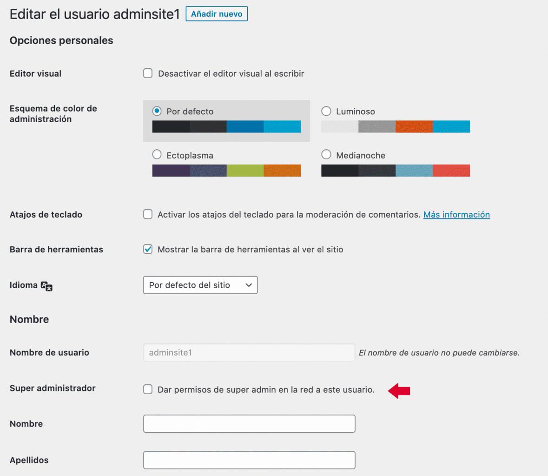 Asignar rol de administrador de red a usuario