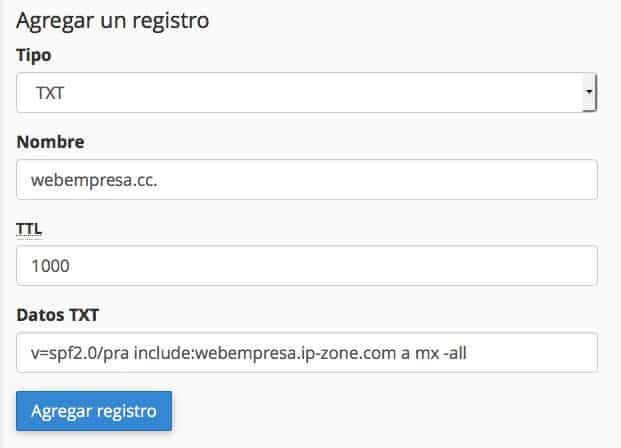 Añadir registros DKIM y SPF de Mailrelay