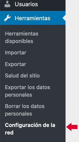 Opción de menú configuración de red