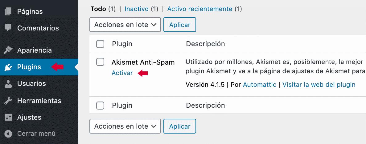 Menu plugin administrador de sitio