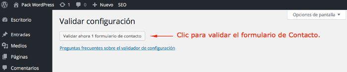 Botón para validar el formulario de contacto