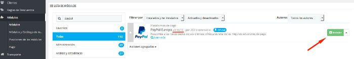 Instalar pasarela de Paypal