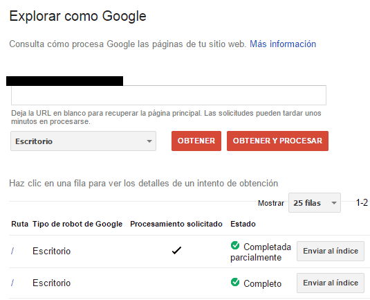 Explorar como google en google search console