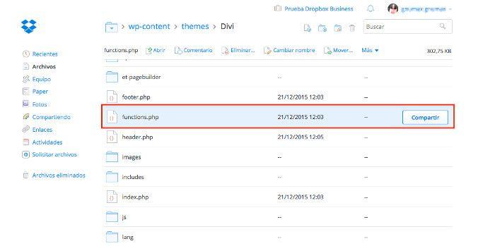 Recuperando una copia de functions.php desde Dropbox