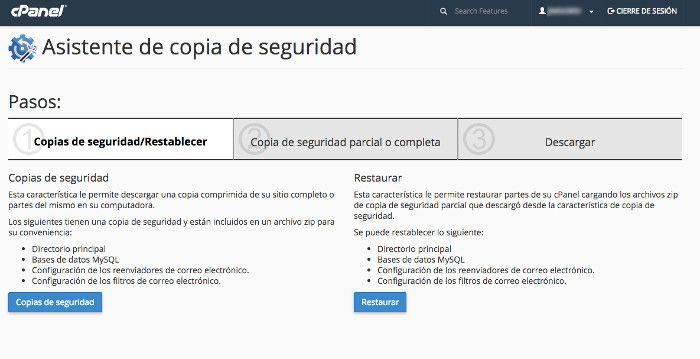 Webempresa permite crear copias de seguridad mediante el cPanel