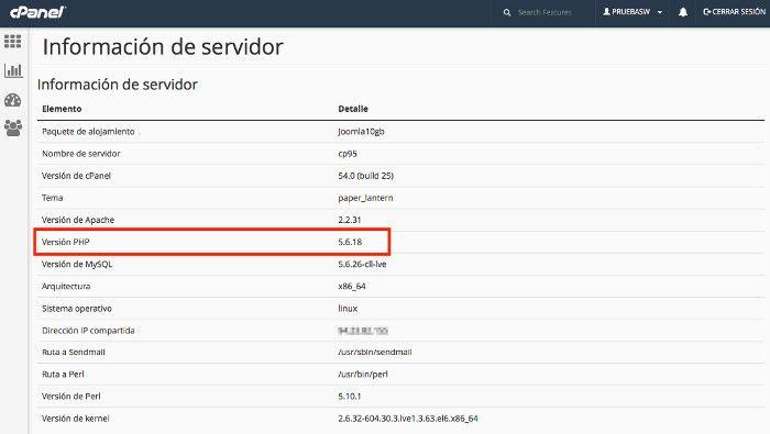 Información del servidor